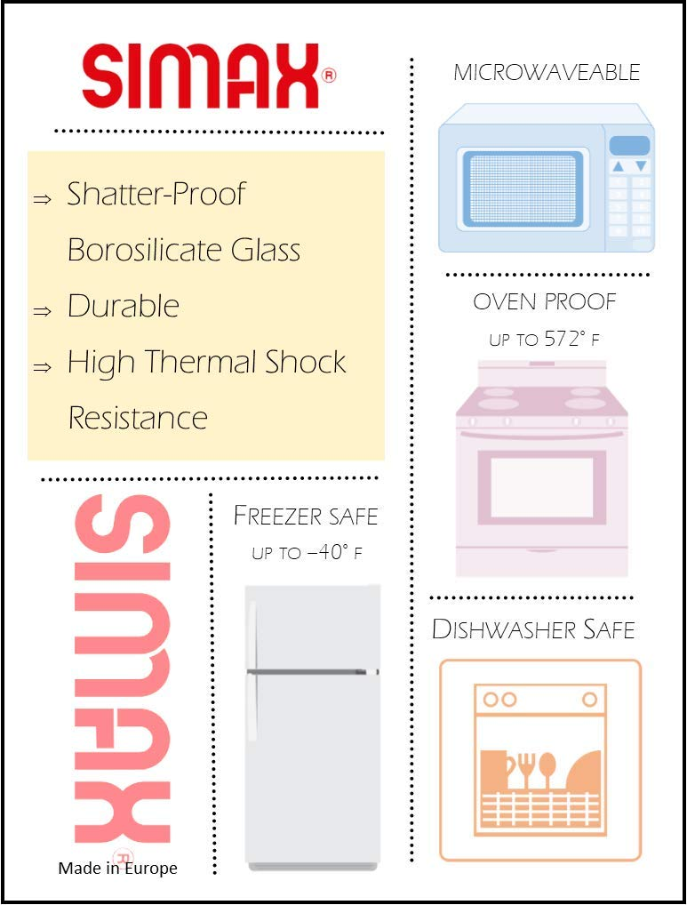 Simax Exclusive Clear Rectangular Glass Roaster | Includes Glass and Plastic Lid, Heat, Cold and Shock Proof, Made in Europe, 2.6 Quart by SIMAX