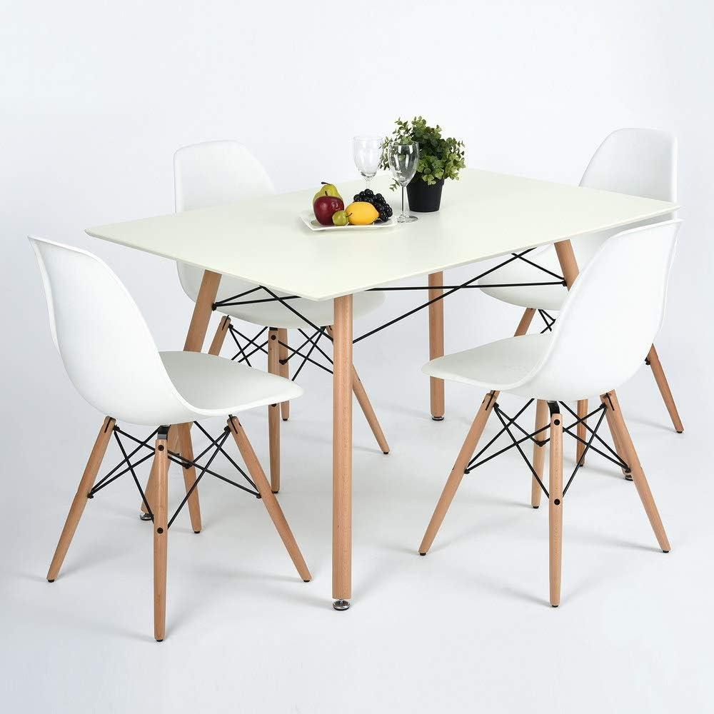 Top Ripiano Superiore Bianco BAKAJI Tavolo da Pranzo Moderno 120 x 80 cm Design retr/ò Quadrato da scrivania con Gambe in Legno di faggio