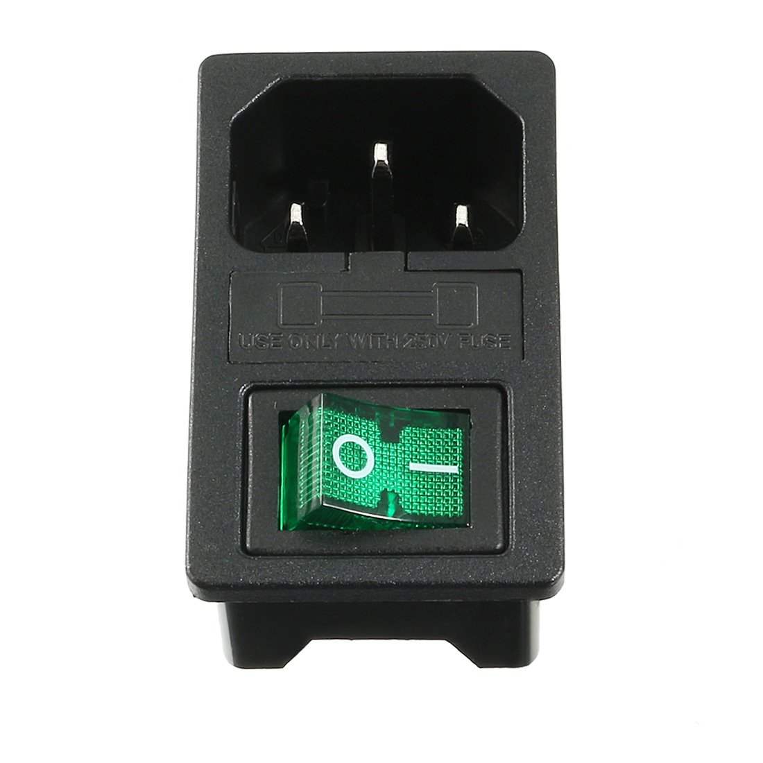 uxcell IEC 320 C14 Inlet Power Supply Connector w Green Light Switch + Fuse  - - Amazon.com
