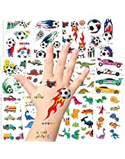 250PCS Temporary Tattoos for Kids, AGPTEK 14 Sheets 3 Series Fake Waterproof Non Toxic Dinosaur Football Cars Tattoos Sticker for Boys Children Theme Birthday Party Favors Supplies