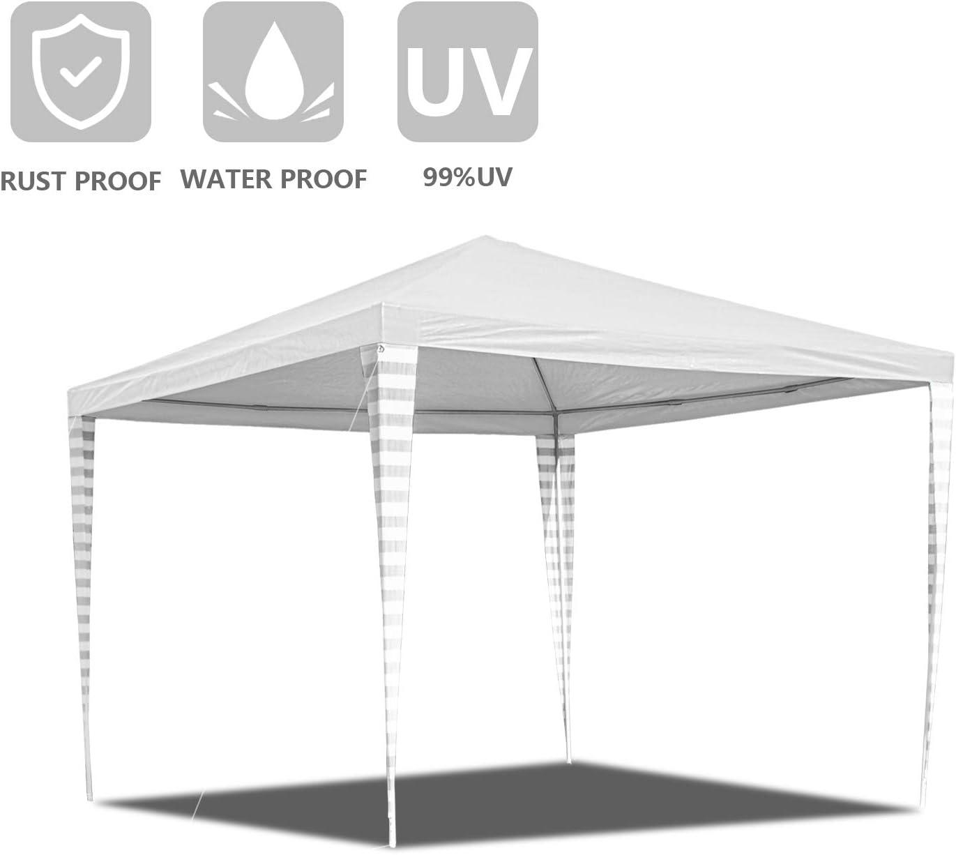 Hengda - Cenador de jardín (3 x 3 m) - Toldo para Fiestas de protección UV - Tienda de campaña para Exteriores, Boda, jardín, Fiesta, Camping, fácil de Instalar, Blanco