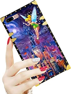 DISNEY COLLECTION Luxury iPhone 7/8 Plus Case Square Cover Tinkerbell at Cinderella Castle Pattern Design Flexible Soft TPU Reinforced Metal Decoration Corners Shockproof Slim Shell