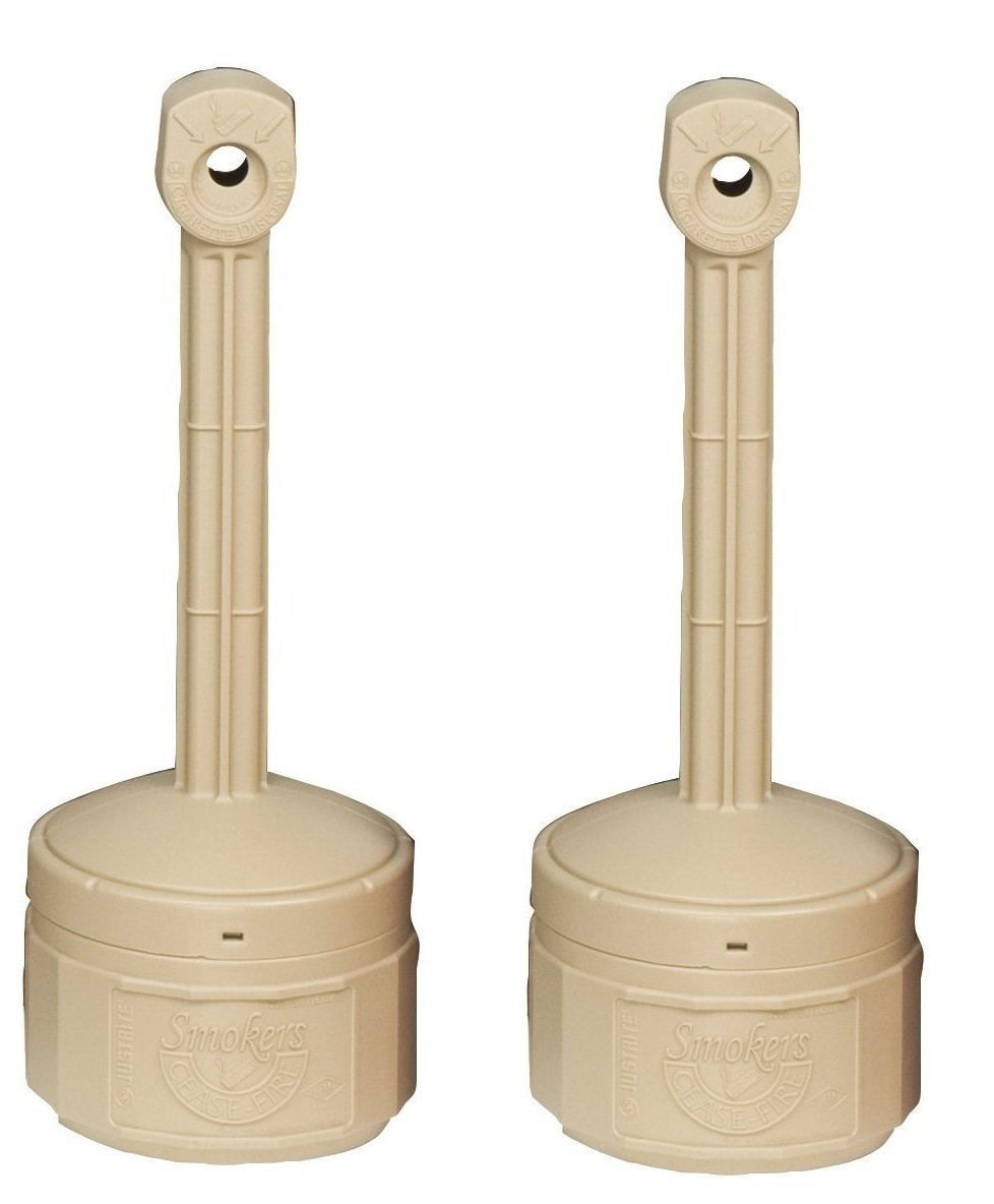 Justrite 26806B Personal Smokers Cease Fire Polyethylene Cigarette Butt Receptacle TaaZha, 1 Gallon Capacity, 11'' OD x 30'' Height, Adobe Beige, Pack of 2