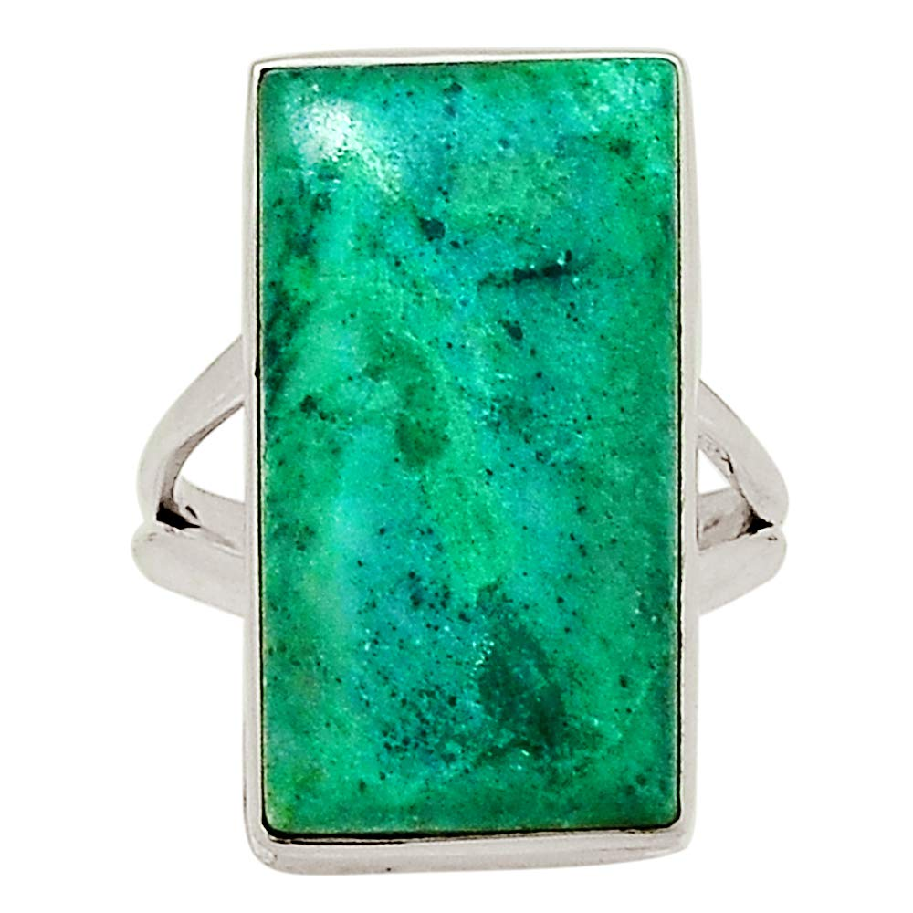 Xtremegems Dioptase and Crysocolla 925 Sterling Silver Ring Jewelry Size 6 29718R