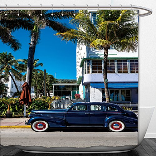 Interestlee Shower Curtain Classic American Car on South Beach Miami - Beach Miami South Macy's