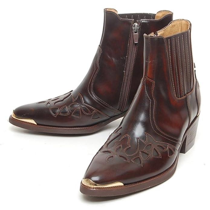 56c4e2d14b Epicsnob Mens Shoes Brown Cow Leather Dress Formal Western Cowboy Chelsea Ankle  Boots 10 M US  Amazon.co.uk  Shoes   Bags