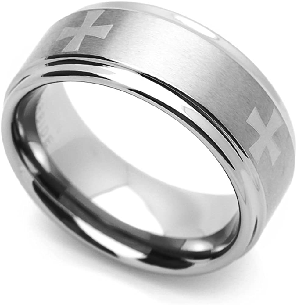Double Accent 9MM Comfort Fit Tungsten Carbide Wedding Band Maltes Cross Engraved Ring 7 to 14