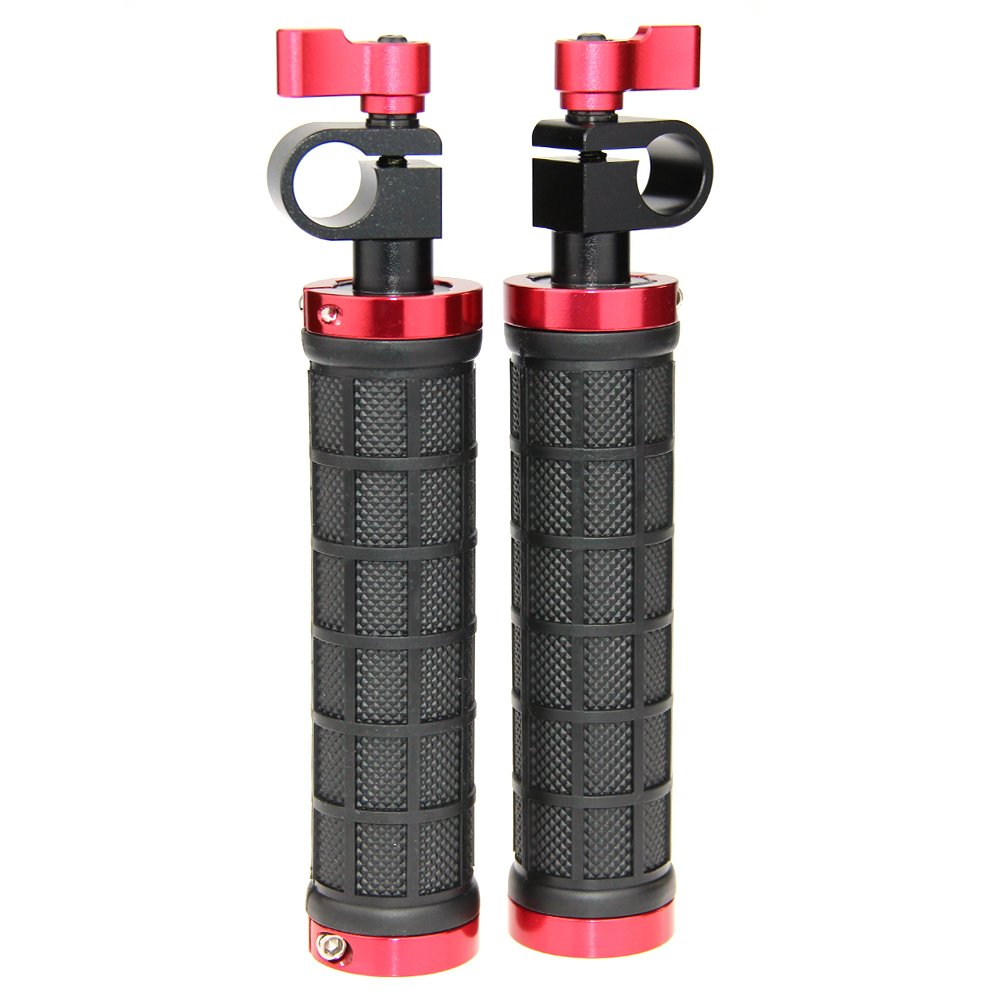 CAMVATE DSLR Handle Grips with Rod Clamp for 15mm Rod Rig rail Support Camera Tripod(1 Pair)