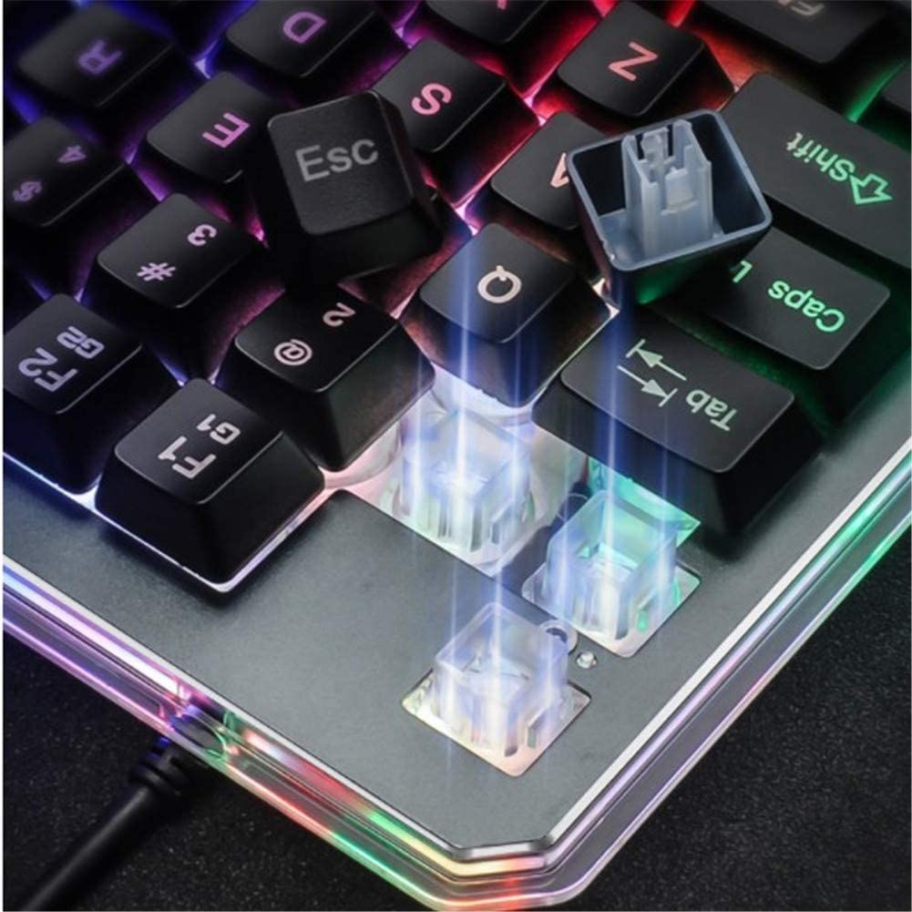 WAWRR One Hand GamingKeyboard,RGB Gaming Keyboard Colorful BacklightProgrammable Keys USB Wire Metal Base is Used for Games and Programming