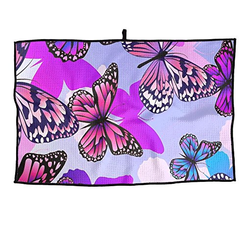 SESY Custom Color Butterfly Golf Towel Sports Towel 23.6x15 Inches Player Towel