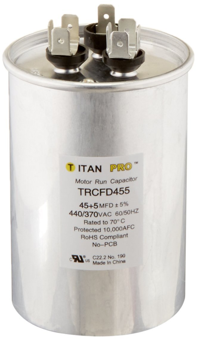 Packard TRCFD455 45+5MFD 440/370V Round Run Capacitor Replaces PRCFD455