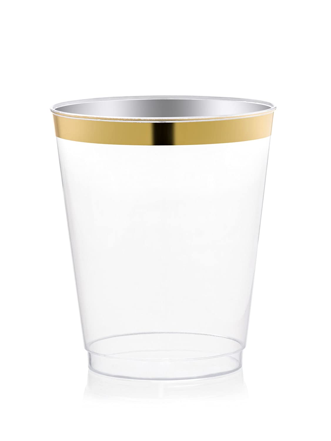 DRINKET Gold Plastic Cups 8 oz Clear Plastic Cups / Tumblers Fancy Plastic Wedding Cups With Gold Rim 50 Ct Disposable For Party Holiday and Occasions SUPER VALUE PACK