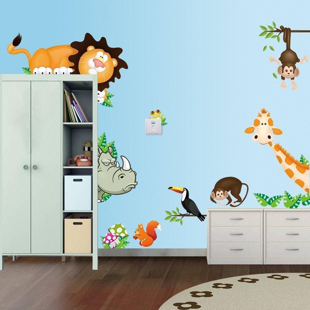 Topgrowth Animale della Giungla Bambino Asilo Nido Adesivi Murali Bambini Murale Adesivo da Parete Decalcomania