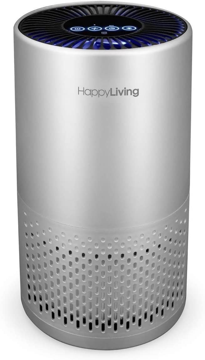 Happy Living H13 HEPA Air Purifiers for Home, 4-Stage Filtration Bedroom Air Cleaner 360-Degree for Smokers, Odors, Allergens, Pets, Pollen, Dust, Sleep Mode, 240 sq ft: Home & Kitchen