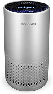 Happy Living HEPA Air Purifiers for Home, 4-Stage Filtration Bedroom Air Cleaner 360-Degree for Smokers, Odors, Allergens, Pets, Pollen, Dust, Sleep Mode, 240 sq ft