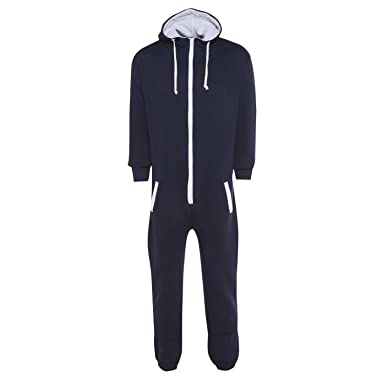 4de19feb0e9 New Womens Mens Unisex Plain Ladies All In One Jumpsuit Hooded Onesie  Playsuits (Small