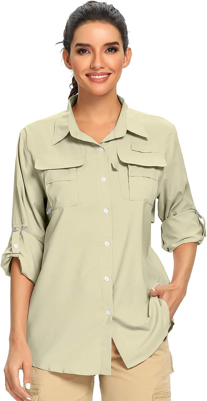 Womens Fishing Shirt Quick Dry Sun UV Protection Convertible Long Sleeve Hiking Camping Shirts