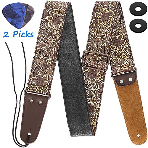 Guitar Strap, Stamped Leather Guitar Strap PU Leather Wester