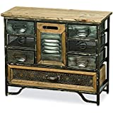 Whole House Worlds The Industrial Chic Mini Chest, 7 Drawers and 1 Utility Bin, Reclaimed Vintage Style, Iron, Screening, Galvanized Metal, Wood, Over Over 1 Ft Tall (14 1/2 T x 17 3/4 Inches) By