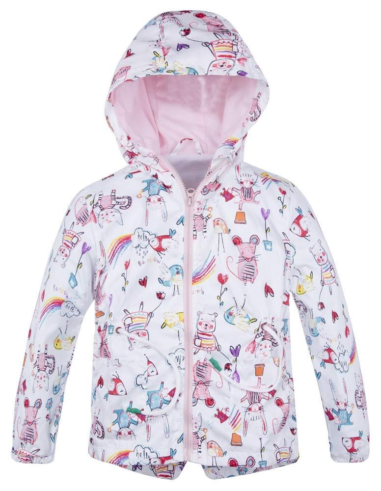 Jingle Bongala Kids Girls Boys Hooded Jacket Cotton Lined Light Windbreaker Cartoon Printed-Pink Cat-4-5Y
