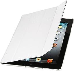 StilGut Couverture, custodia in vera pelle per il Apple iPad 3 & iPad 4 con funzione di supporto e smart cover, bianco pelle granata