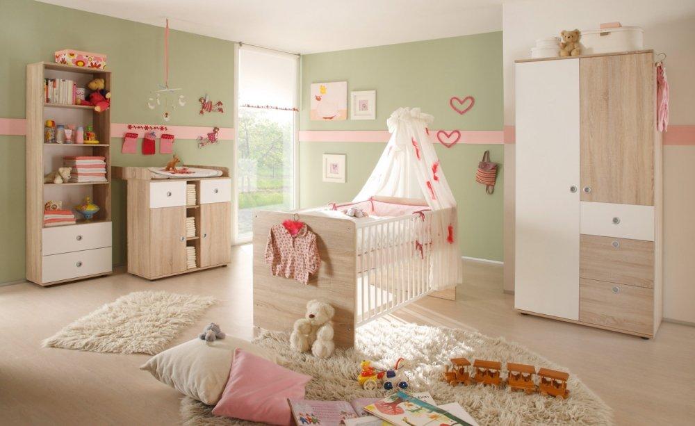 Wiki Baby Kleiderschrank Sonoma/Weiß, B/H/T: 90/190/52 cm
