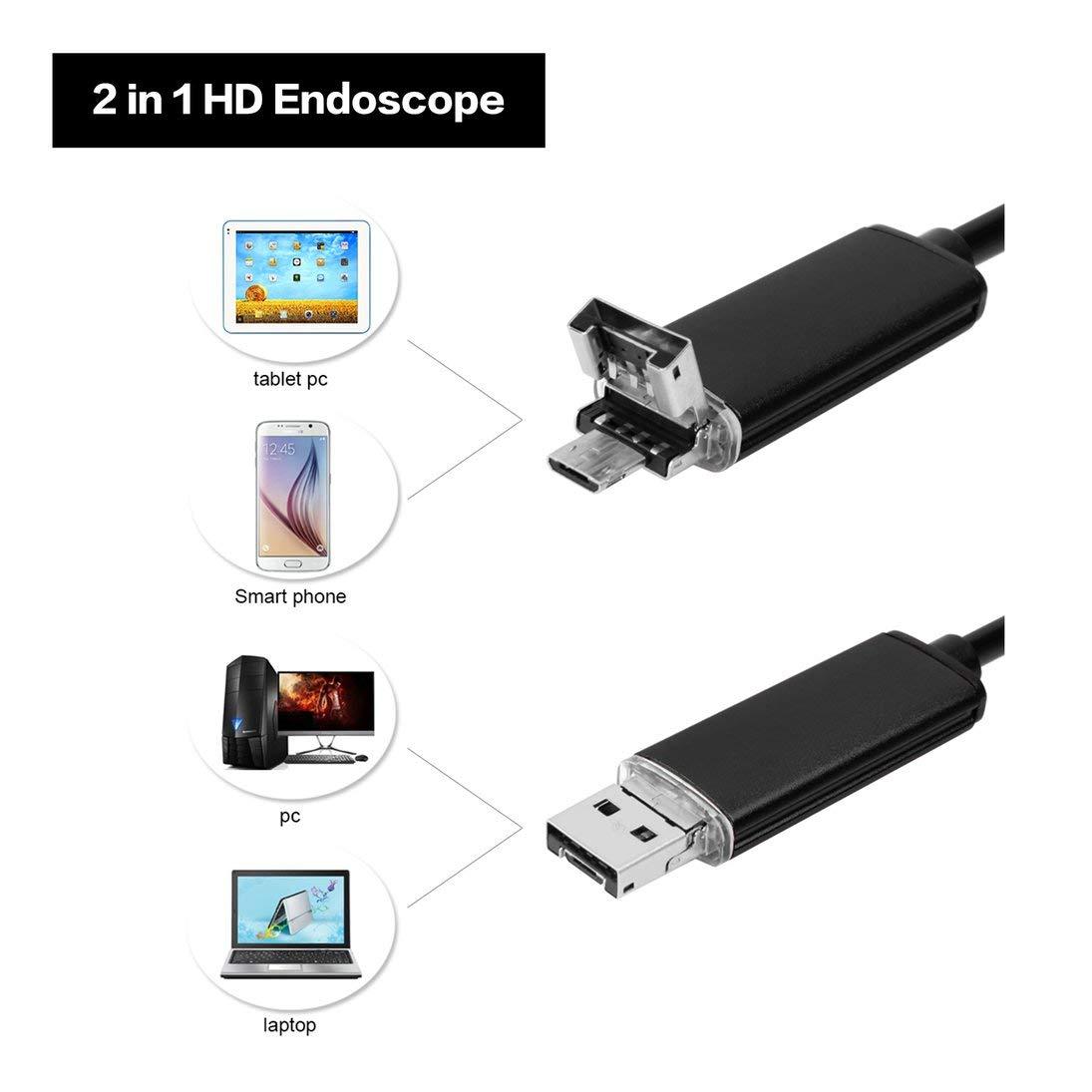 Boroscope Endoscope /Étanche Inspection HD Cam/éra Endoscope 7mm Serpent Pour Andorid Windows Mac OS 2m C/âble Flexible USB 6 LED ToGames-FR