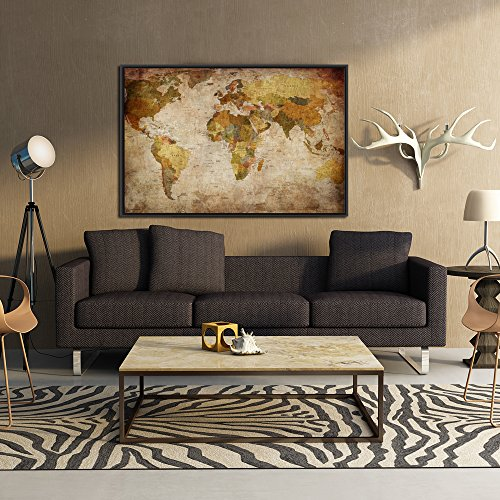 Kreative Arts - Large Size Vintage World Map Giclee Canvas Prints Artwork Pictures Modern Stretched and Framed Paintings on Canvas Wall Art for Living Room Bedroom Home Decor (Black Floater Frame)