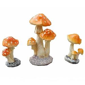3 Pack Fairy Garden Miniatures Decoration Orange Mushroom Resin DIY Garden Ornament Micro Landscape Mini Dollhouse