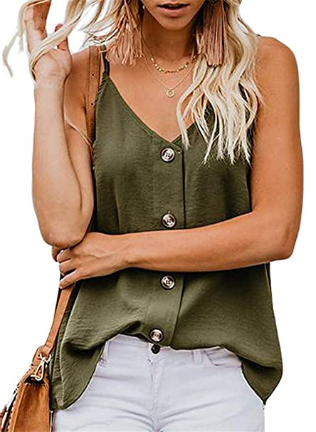 f6a2ad08379ab Ofenbuy Womens Button Down Tank Tops Casual Loose V Neck Spaghetti Strap  Sleeveless Camis Shirts Blouses