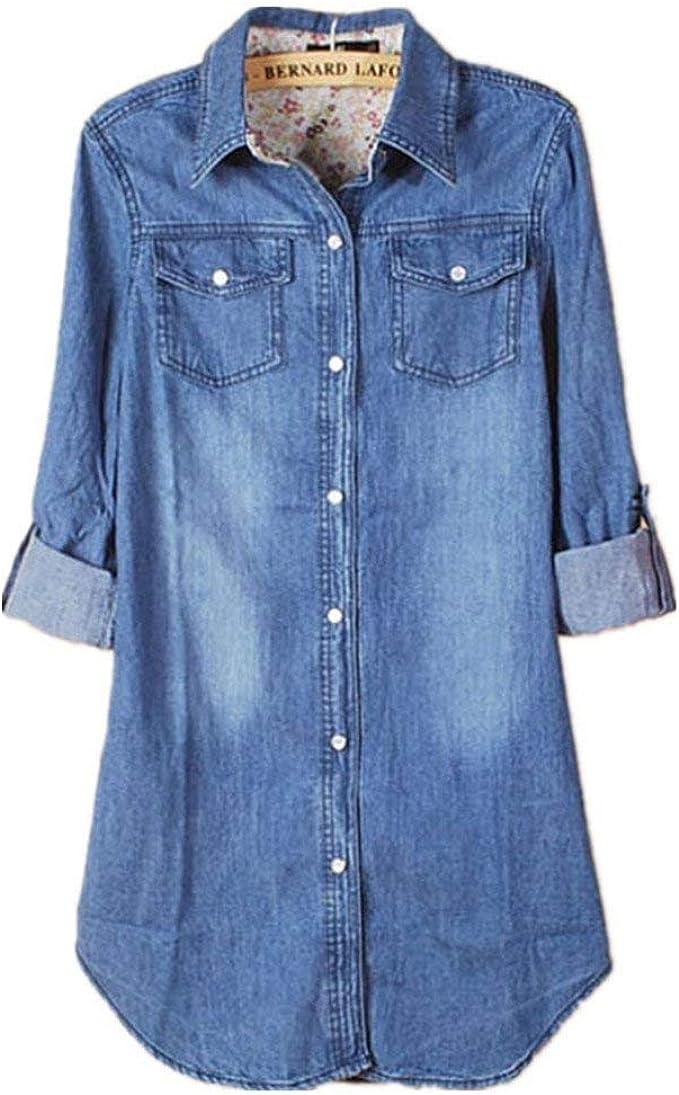 Blusa Señoras Mujer Sudadera Blusa Larga Nuevas Manga Mujeres Casual Manga Ropa Larga Vintage Camisa Vaquera Azul Blusas Blusa Camisa Suelta Tops Tops: Amazon.es: Ropa y accesorios