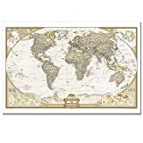 Large Size 32″x48″,World Map,Framed World Map,Executive Style,Scan the Globe At Home,Travel Around the World on Map,Canvas Art,Framed and Stretched Ready to Hang on,Canvas Prints Art Picture