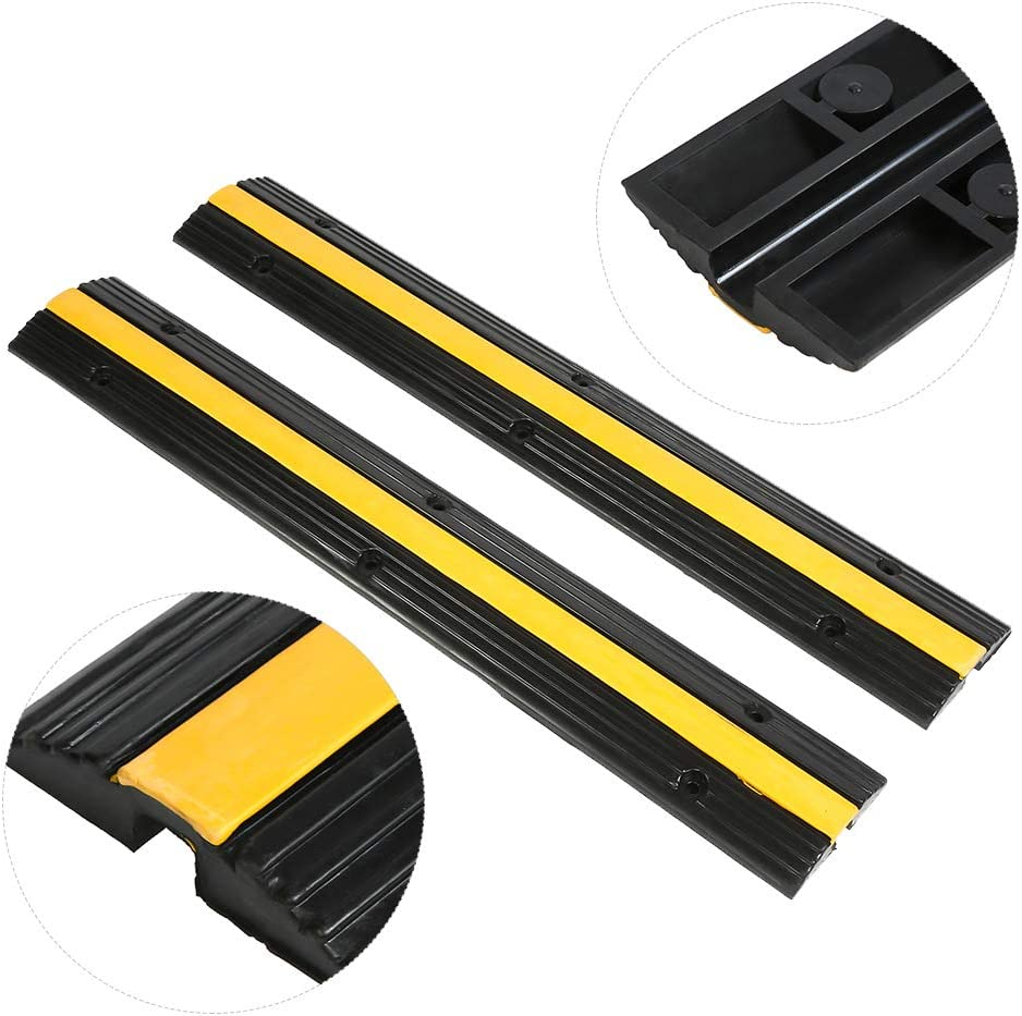 Heavy Duty Single Channel Rubber Speed Bump 3cm Car Speed Bump with One Cable Protection Channel 2Pcs 99 16 Non-Slip Shock Proof Rubber Car Speed Bump Ramp for Car Slowing and Wire Protection