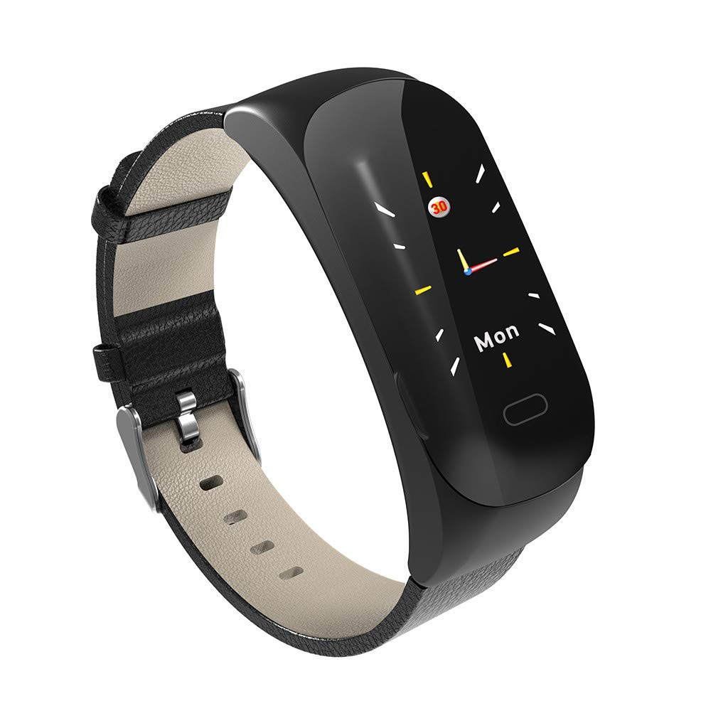 HHmei Smart Watch Bracelet Band Blood Pressure Heart Rate Monitor Waterproof Activity C15 Smart Bracelet (Black)