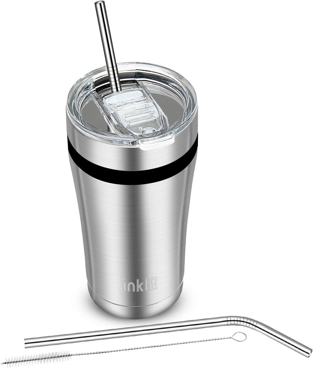 Linkit 20oz Tumbler with Slider Lid & Straws - Travel Mug Vacuum Insulated Coffee Cup - 18/8 Stainless Steel Water Bottle - Stainless Steel