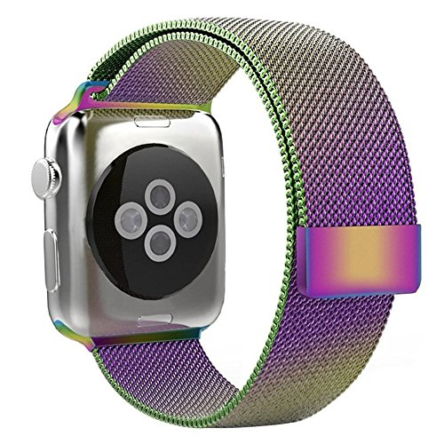 AENMIL Colorful Watchband Replacement for iWatch, Smart Watch Strap for Apple Watch Sports Edition 42mm, Mesh Polished Stainless Steel Band Bracelet With Strong Magnet Lock(42mm)