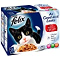 Felix As Good as it Looks Meat Selection in Jelly 12 x 100 g (Pack of 4, Total 48 Pouches)