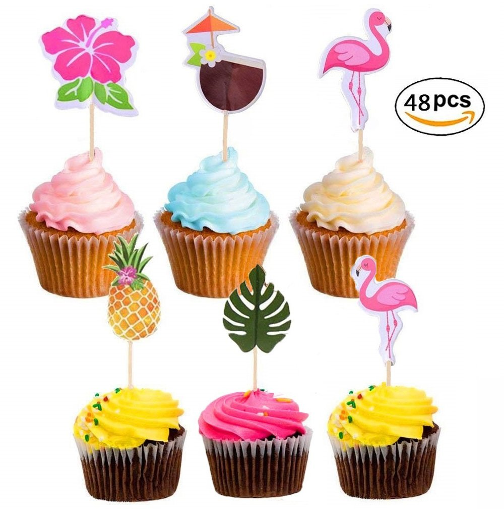 48-Pack Cupcake Toppers for Luau Hawaii Birthday Parties Wedding Beach Party Summer Flamingo Cake Toppers Cocktail Picks Cake Food Decoration Supplies