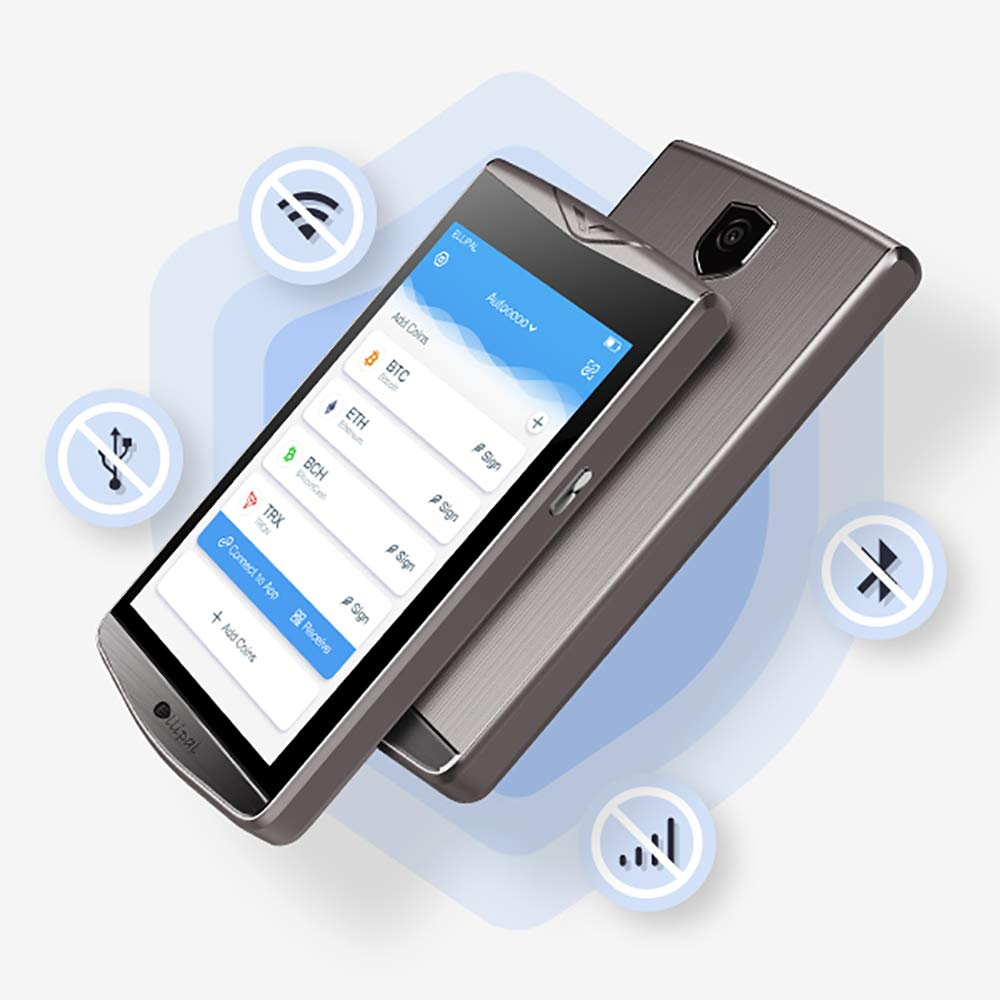 ELLIPAL Cryptocurrency Hardware Wallet, Internet Isolated & Large Screen, Easy Exchange& Trade, Support BTC Xrp ETH Usdt TRX Dash DGB Doge LTC BCH Etc CMT Grs BCD Erc10&20Token