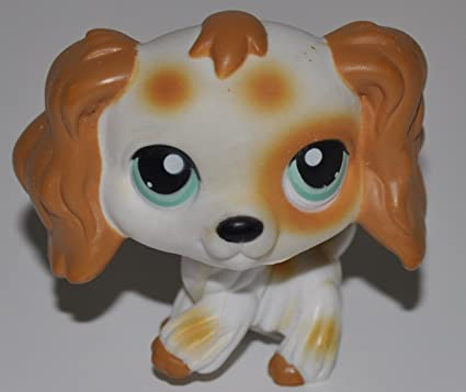 #344 Littlest Pet Shop Cocker Spaniel Dog Brown White Spotted Green Eyes LPS Toy