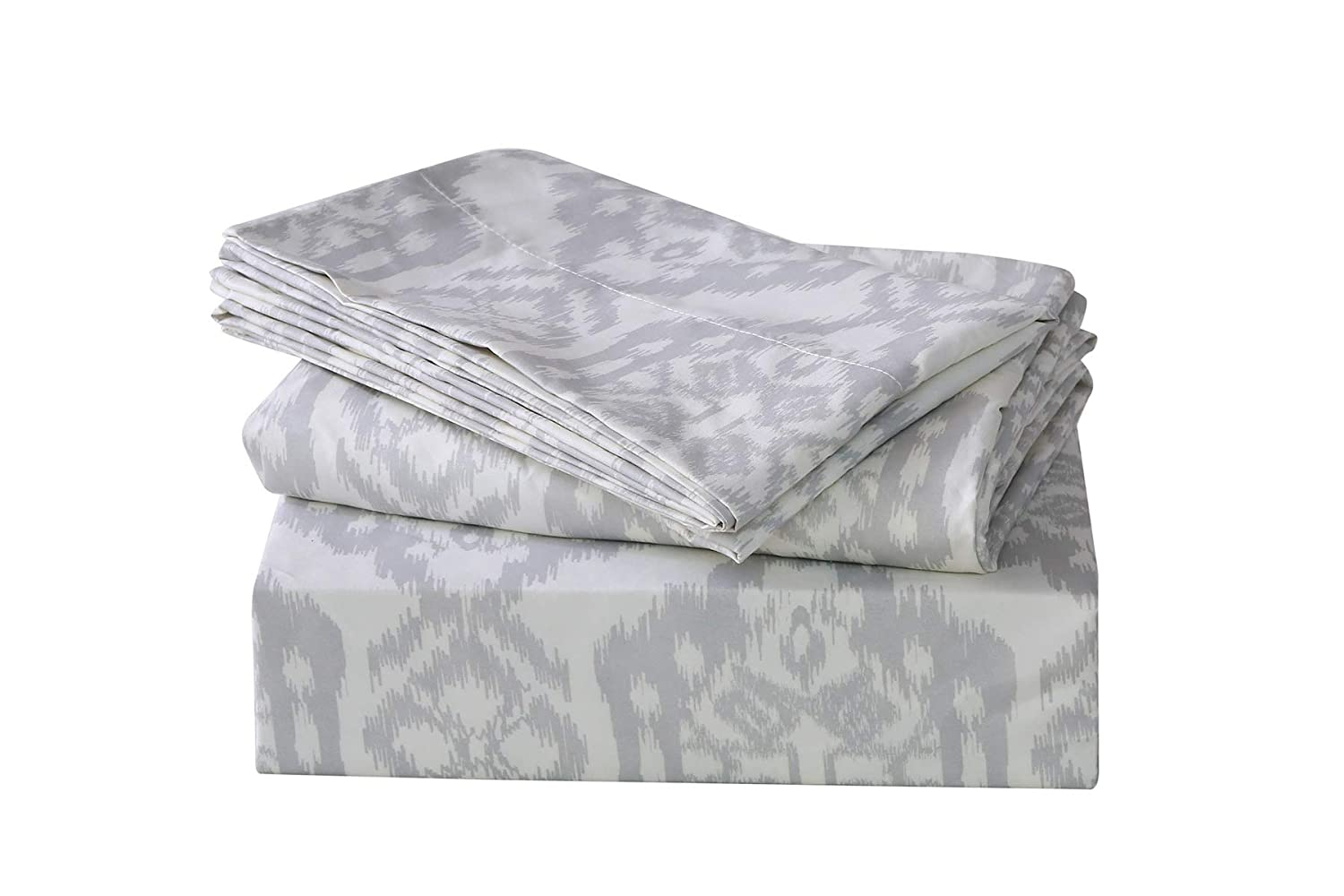 CoutureBridal Black Print Bed Sheet Set Full Black, Bed Sheet Microfiber Printed Pattern, Hotel Quality 4-Pieces Full Sheet Set, 15 inch Elastic Deep Pocket Fitted Sheet and 2 Pillowcases CBCAHBBS009-Full