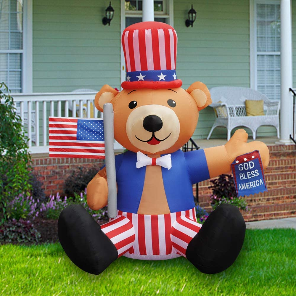BLOWOUT FUN 6ft Tall Patriotic Independence Day 4th of July Inflatable Cute Bear with God Bless America Flag LED Blow Up Lighted Decor Indoor Outdoor Holiday Art Decor Decorations