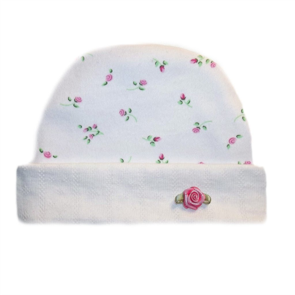Jacquis Baby Girls Pink Dainty Roses Capped Hat