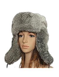 FURTALK Men's Women's Natural Rabbit Full Fur Russian Ushanka Trooper Hat Multicolor
