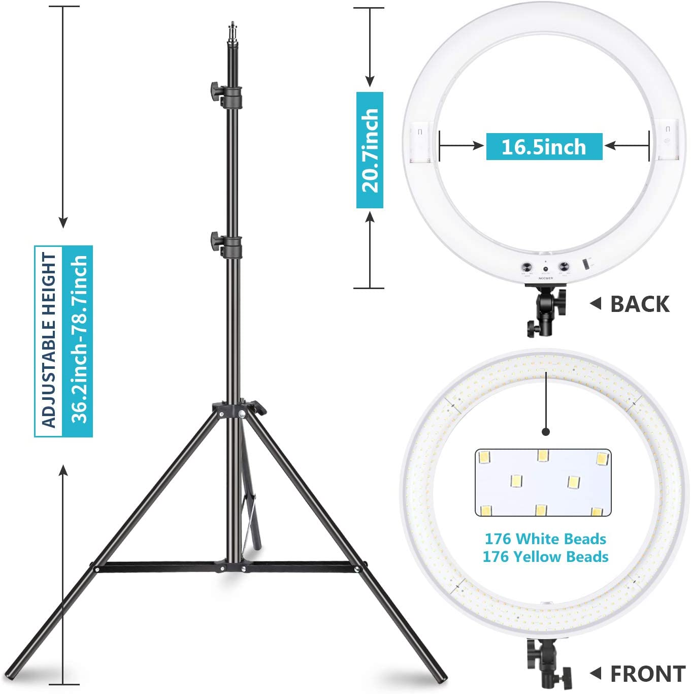 Neewer 20-inch LED Ring Light Kit for Makeup YouTube Video Blogger Salon Battery AC Adapter Charger Phone Clamp and Stand Included Adjustable Color Temperature with Battery or DC Power Option