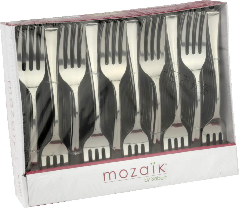 Mozaik 100 Metallised Silver Plastic Mini Cocktail Forks 10cm