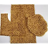 Gold Bathroom Rug Sets. 3 Piece Ultra Soft Microfiber Mixed Shiny Chenille Bath Mats Set Large Mat 19 5x
