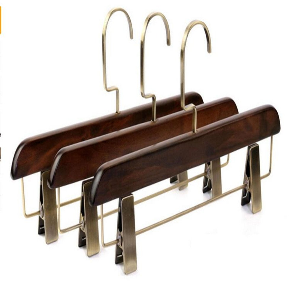 Shuangklei 36Cm Multi-Functional Vintage Real Wood Pants Clip. The Hotel Clothing Store Pants Hanger.5Pcs