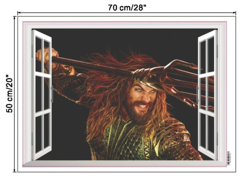 Amazon.com: JiuJiu.Yan 3D Vivid Aquaman Window Wall Decals ...