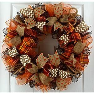 Wreaths for Fall | Brown Orange Burlap Fall Thanksgiving Deco Mesh Door Wreath; Yellow White : F3 59